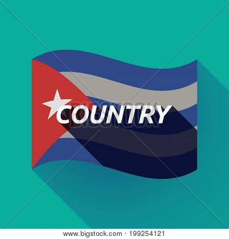 Long Shadow Cuba Flag With    The Text Country
