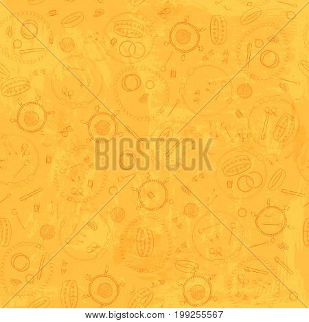 Jewelry, set, collection, seamless pattern. Vector design isolated illustration. Brown outlines, yellow watercolor background.