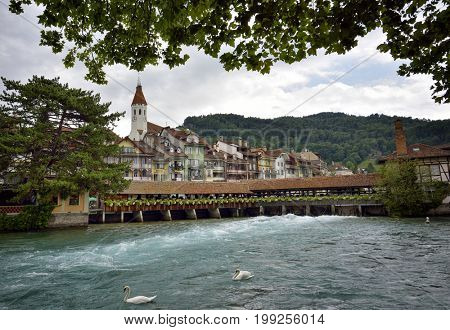 Thun city and river in Aare, Switzerland - 23 july 2017