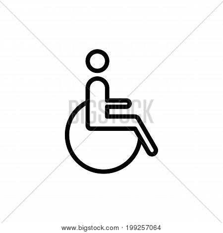 thin line disabled handicap icon on white background