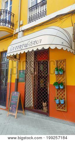La Coruna, Spain - August 10, 2017: Colorful cafeteria in La Coruna and funny little dog