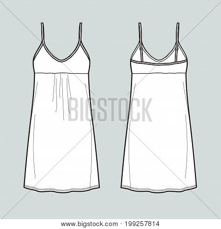 Vector illustration of women's dress with straps. Front and back