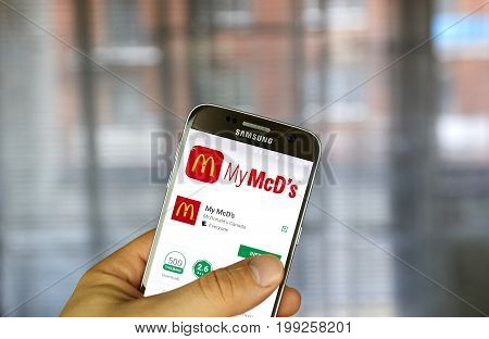 MONTREAL CANADA - APRIL 20 2017 - McDonald's application on Samsung S7 screen. McDonald's is the world's largest chain of hamburger fast food restaurants.