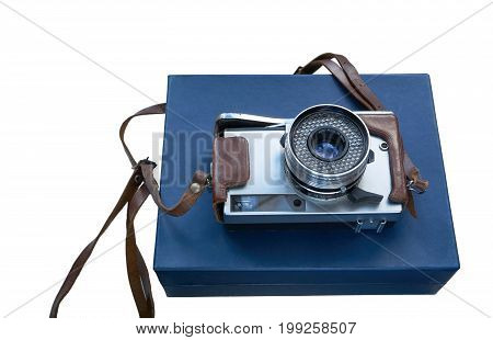 Vintage Film Photo Camera On A Blue Box