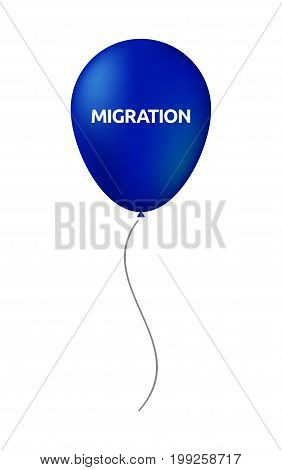 Isolated Balloon With  The Text Migration