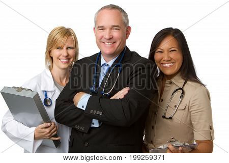 Diverse Team of Healthcare Providers Isolated On White
