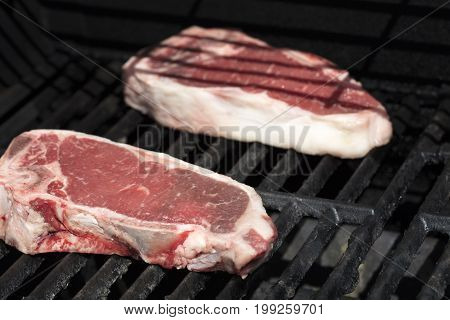 Two steaks being grilled on the barbecue outdoors