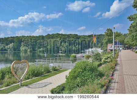 Promenade called Diekseepromenade at Lake Dieksee in Malente,Holstein Switzerland,Schleswig-Holstein,Germany