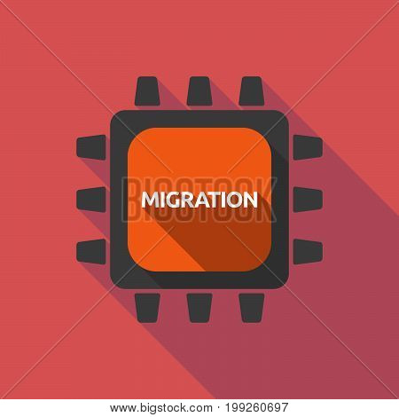 Long Shadow Cpu With  The Text Migration