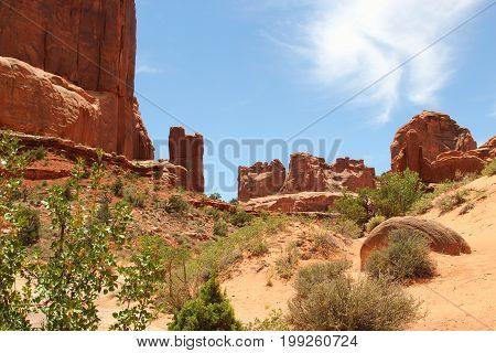 Red sand stone formations in Arches National Park