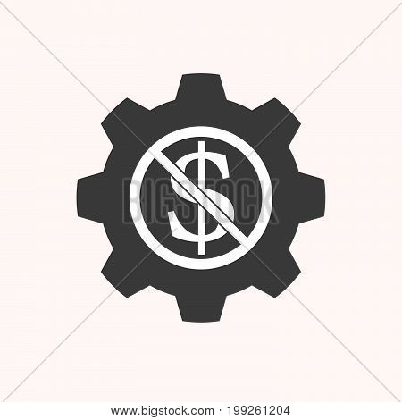 Isolated Gear With  A Dollar Sign  In A Not Allowed Signal