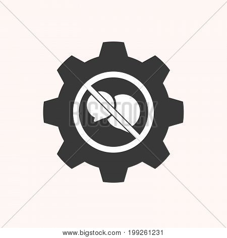 Isolated Gear With  Two Comic Balloons  In A Not Allowed Signal