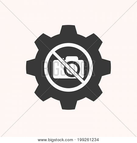 Isolated Gear With  A Photo Camera  In A Not Allowed Signal