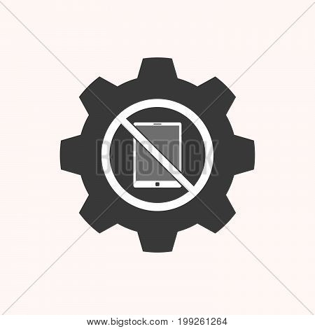 Isolated Gear With  A Tablet Pc  In A Not Allowed Signal