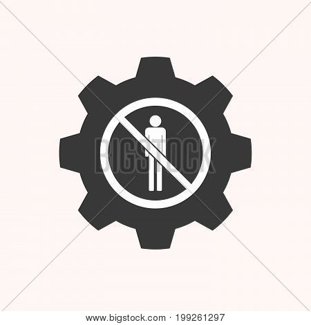 Isolated Gear With  A Male Pictogram  In A Not Allowed Signal