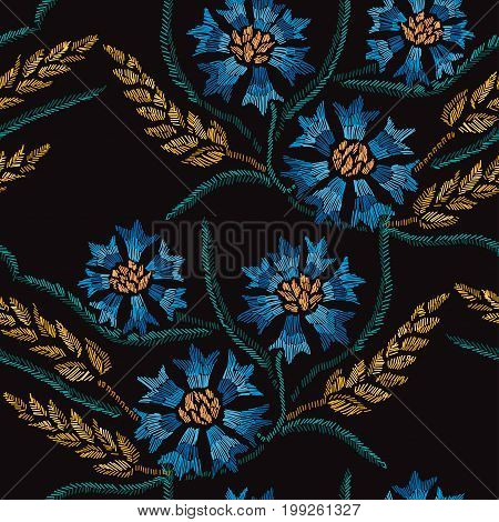 Elegant seamless pattern with hand drawn decorative cornflowers and wheatdesign elements. Floral pattern for invitations cards wallpapers print gift wrap manufacturing fabrics. Embroidery style