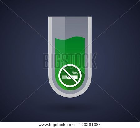 Chemical Test Tube With  An E-cigarette  In A Not Allowed Signal