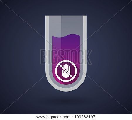 Chemical Test Tube With  A Hand  In A Not Allowed Signal