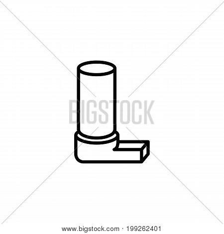 thin line inhaler icon on white background