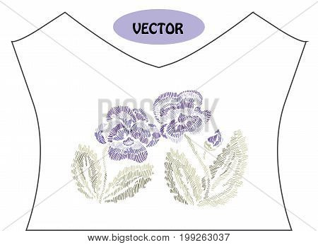 Decorative pansy flowers in embroidery style on t-shirt or dress neck line. Editable colors.Can be used for fashion decorations fabrics manufacturing. Embroidery decorative flowers