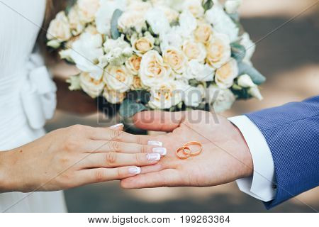 the groom on the hand holds two gold wedding rings bride lends a helping hand to the rings