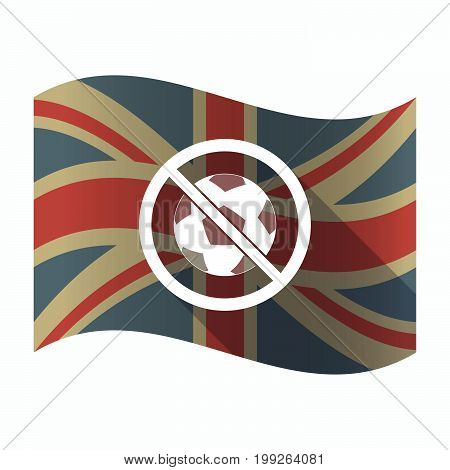 Isolated Uk Flag With  A Soccer Ball  In A Not Allowed Signal