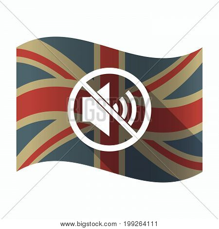 Isolated Uk Flag With  A Speaker  In A Not Allowed Signal