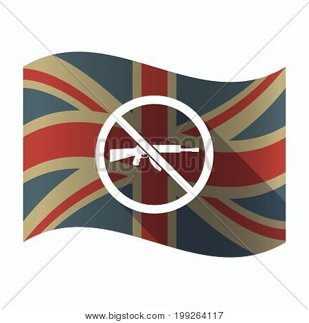 Isolated Uk Flag With  A Rifle  In A Not Allowed Signal