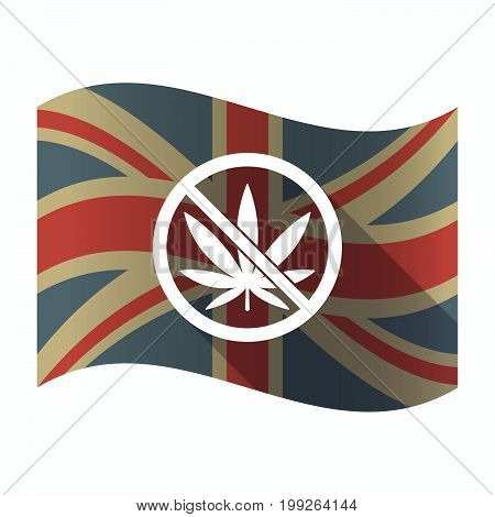 Isolated Uk Flag With  A Marijuana Leaf  In A Not Allowed Signal