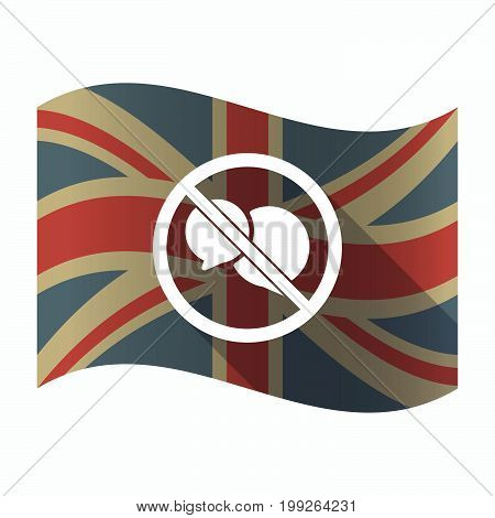 Isolated Uk Flag With  Two Comic Balloons  In A Not Allowed Signal