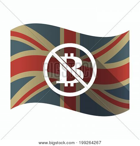 Isolated Uk Flag With  A Bitcoin Sign  In A Not Allowed Signal