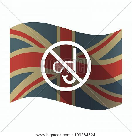 Isolated Uk Flag With  A Diving Glasses And A Snorkel  In A Not Allowed Signal