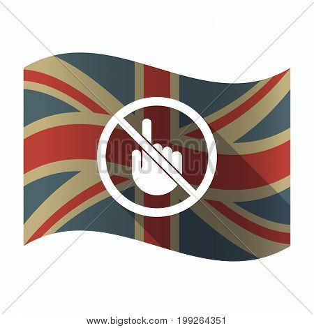 Isolated Uk Flag With  A Touching Hand  In A Not Allowed Signal