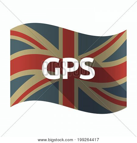 Isolated Uk Flag With  The Global Positioning System Acronym Gps