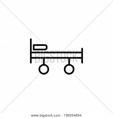 stretcher, bed on wheels icon on white background
