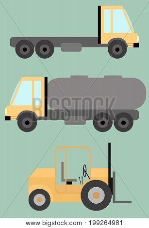 Set of Trucks tank lift machine flat images in vector