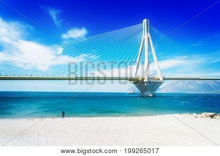 View of Rio Antirrio bridge and Mediterranean sea in Patras, Greece, retro toned