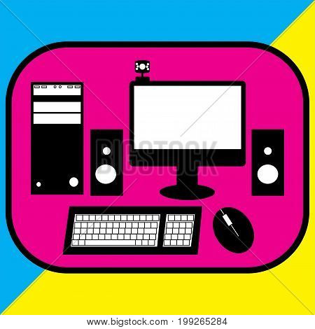 Vector color style illustration of desktop computer.