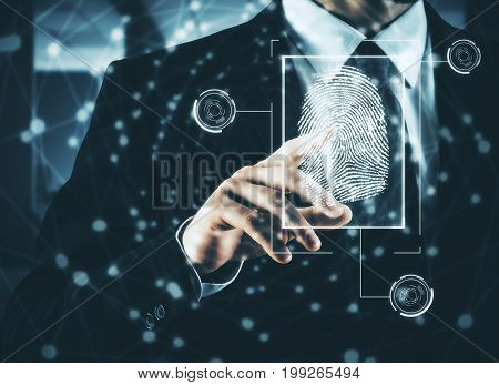 Businessman pressing abstract fingerprint interface on blurry background. Identification concept. Double exposure