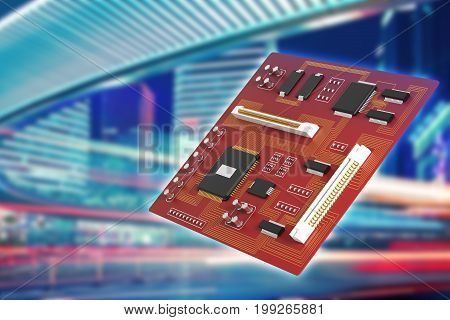 Red Motherboard In City