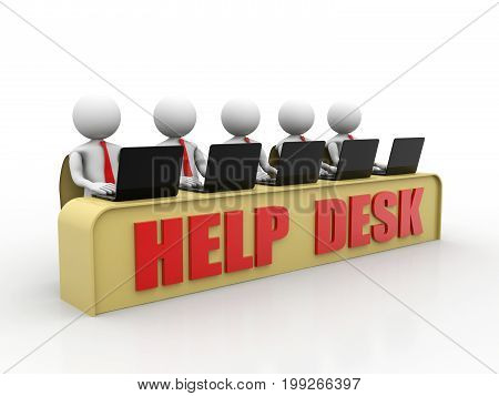 Customer Support. 3D little human character with  a Laptop Computer, Help Desk Concept, 3D little human character in a Call Center. 3d render