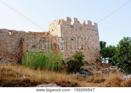 Fortress wall of the Alanya castle in the Old Town (Alanya, Turkey).