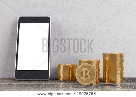 Room With Bitcoins And Smartphone