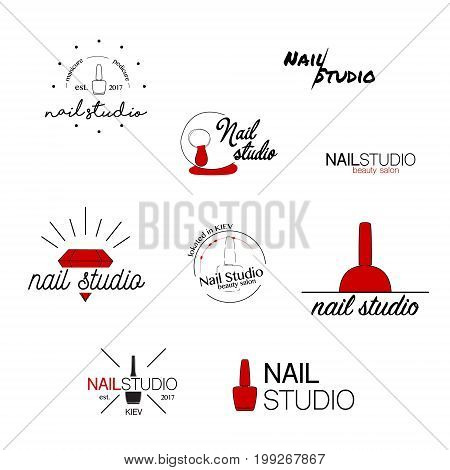 Nail studio vector icon. Beauty labels. Greeting cards , illustration, logo design. Typography decoration company card. Style identity logotype Emblem concept web banner. Product name set