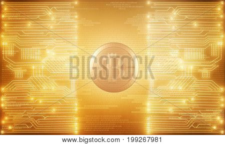Bright glowing golden circuit bitcoin background. Technology and e-business concept. 3D Rendering