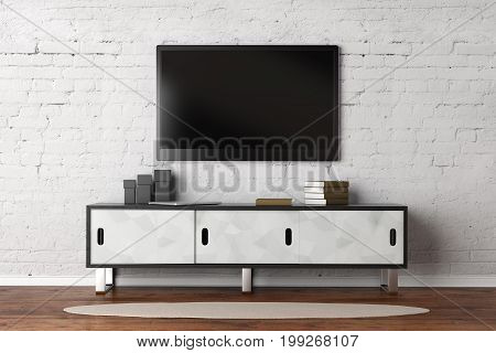 Living Room With Empty Tv Monitor