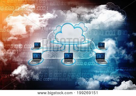 3d rendering Cloud computing concept, cloud network concept