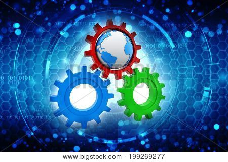 3D gear mechanism with earth in digital background