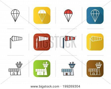 Pilot icons set. Flat design, linear and color styles. Parachute, airport windsock, flight control tower symbol. Isolated vector illustrations