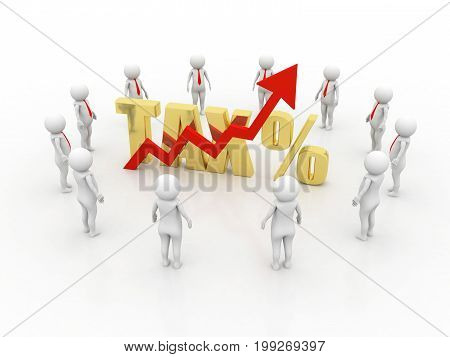 Rising tax concept, 3d render, white background